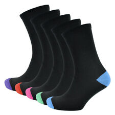 Mens Womens Ladies Black Cotton Rich Blend Contrast Heel & Toe Socks Plain 5 Pac