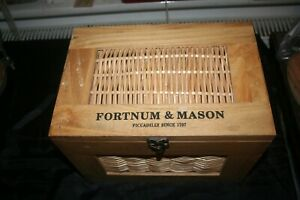 AUTHENTIC FORTNUM & MASON WOOD AND WICKER  F & M BOX/HAMPER VERY GOOD CONDITION