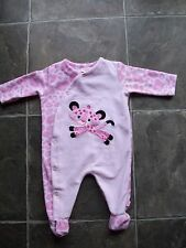 BNWNT Baby Girl's Fisher Price Pink Leopard Velour Coverall/Romper Size 00