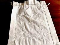 VINTAGE Embroidered WHITE Cotton STOCKINGS HANDKERCHIEF CASE DRAWSTRING BAG