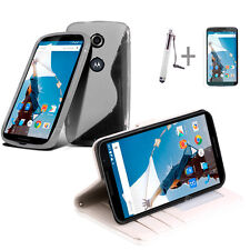 White Wallet 4in1 Accessory Bundle Kit Case Cover For Google Nexus 6