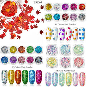 Nail Art Glitter Powder Maple Sequin Flakes Design Acrylic Decor Manicure Tips