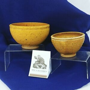 Bowls Pottery Footed Bowls Artisan Signed Set of 2 Small Large Vintage Decor