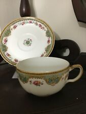 Haviland Limoges Juno red & Yellow Roses Gold Trim Delicate Cup & Sauce