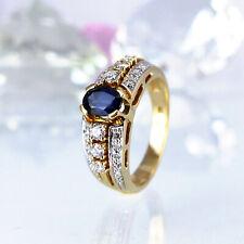 Ring in 585/- Gelbgold mit 18 Diamanten 0,35 ct. Wesselton/Si und 1 Saphir