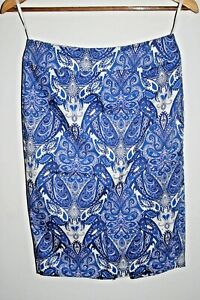 F&F Designer Woman's Office Fashion Skirt Blue Floral Cotton Rich Zip Size 6