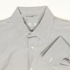Barba Mens Shirt 16 L Solid Gray Button Up French Cuff Point Collar Italy Napoli