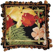 "16"" x 16"" Handmade Wool Needlepoint Tropical Flowers Black Pillow with Tassels"