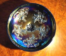 Beautiful Crown Crystal Black Amethyst Carnival Glass Butterfly Bush Compote