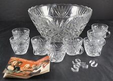Vintage Lot Anchor Hocking Arlington Glass Clear Punch Bowl 8 Cup 4 Hangers Book