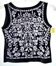 Conrad C Black Velour & Spandex Womens Shell w/ White Flowered Beads Sz S/P NWT