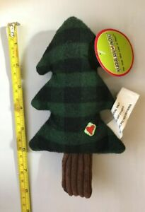 """HUGGLEHOUNDS 7"""" COOKIE CUTTER PLAID HOLIDAY CANVAS CORDUROY TREE DOG TOY"""