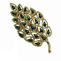 Vintage Gold Tone Open Work Textured Green Bead Leaf Brooch Pin