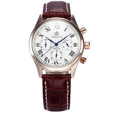 ORKINA Men's Rose Gold Case Chronograph Leather Quartz Analog Sport Wrist Watch