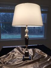 Wood and metal Table Lamp with a fabric shade, made in Spain, new condition
