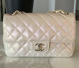 Stunning Rare CHANEL 20 S Iridescent Ivory Lambskin Rect Mini Flap Bag New WOW