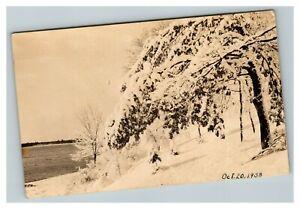 Vintage 1938 RPPC Postcard - Snowy Lakeside Landscape - Beautiful