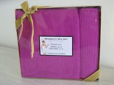 Womens 2 Piece Bath Body UltraSoft Plush Towel Wrap Sarong Spa Set Hot Pink $40