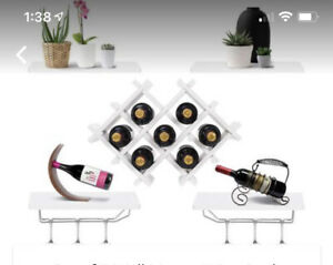 Set of 5 Wall Mount Wine Rack Set W/ Glass Holder And Storage Shelves White