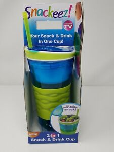Snackeez! Travel Snack & Drink Cup With Straw, Blue/Green 2 in 1 NEW FREE SHIPPI