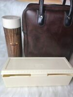Vintage 3 Piece Thermos Set Brown Wood Grain Leather Picnic Lunchbox Bag Collect