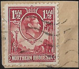 "Northern Rhodesia 1938 KGVI 1½d SG 29 ""Tick Bird"" on Piece FU"