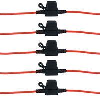 5PCS Standard Blade Fuse Holder Splash Proof 30A 12V Cable In Line Car Bike Auto