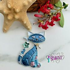 MAGNETIC BROOCH SCARF PIN CLIP,  BLUE AND SILVER CAT DESIGN NICKLE & LEAD FREE