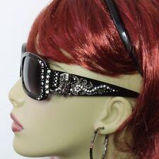 Rhinestone Sunglasses Western Bling Boot Concho Black Frame Gray Lens Silver