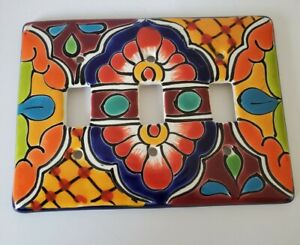 Talavera TRIPLE switch PLATE Cover Mexican Amigos Pottery light cover art