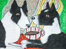 Karelian Bear Dog Drinking Coffee Dog Pop Vintage Art 8 x 10 Signed Print Ksams