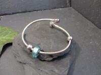 Hübscher 925 Silber Armreif Cham Armspange Blau Kugel Sterling Modern Elegant