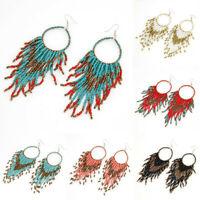 Retro Bohemian Multicolor Resin Seed Beads Tassel Dangle Earrings Boho Jewelry