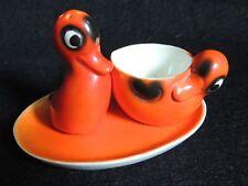 Adorable petit nécessaire à oeuf coquetier salière  service ancien canard orange
