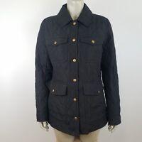 J. Crew Women's Medium Black Quilted Down Field Coat Light Weight Style 98730