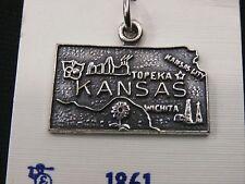 Stunning Sterling Silver KANSAS State Pendent/ Charm. Make Offer! #1697