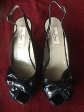 "Valentino Black Patent Bow Wedge Heel Sandal Shoes, Barely Worn, 4"" Heel, Sz 37"