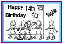 PERSONALISED NETBALL  A4 TRIFOLD BIRTHDAY CARD WITH TEAM COLOURS FOR BORDER