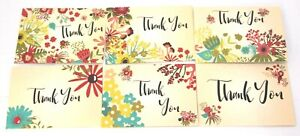 (30) Thank You Note Cards w/ Floral Design Six Styles Assorted Blank w/Envelopes