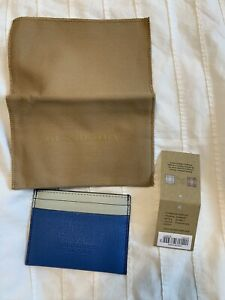 New Authentic Burberry Written Logo Leather Unisex Wallet Card Holder Blue $320