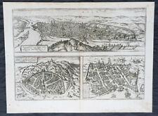 1574 Braun & Hogenberg Antique Map City Views of Rouen, Nimes & Bordeaux France