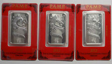 Lot of 4 PAMP Suisse Lunar Year of Dragon and Horse 1 oz .999 fine silver bars
