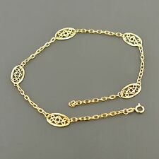 """14K YELLOW GOLD OVAL CABLE LINK W/OVAL FILIGREE STATIONS 10"""" ANKLET"""