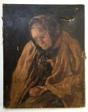Tableau ancien à restaurer, Huile sur toile, Ecole impressionniste, XIXe