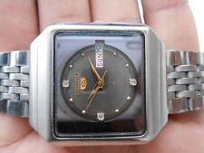 Rare Vintage Stainless Steel Seiko 5 Square Brown Dial Mens WristWatch