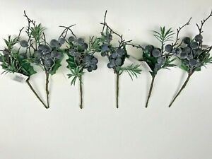 Pack of 6  Artificial Black Berry Pick With Green Foliage 23 cm Christmas