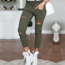 Women Black Ripped Jeans High Waist Stretch Trousers Slim Fit Denim Pencil Pant