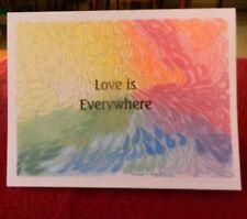 "Handmade box of 5 Greeting cards Rainbow teardrops ""Love is Everywhere"" #121"