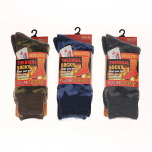 Men's Socks Polar Extreme Insulated Thermal Camouflage Camo Pattern 3 Brown
