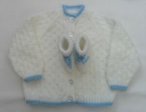 Hand Knitted Baby Cardigan and Booties Set